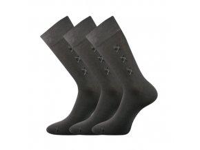 Společenské ponožky 3 kusy v balení Lonka Doratek tmavě šedá