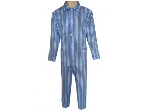 Pánské Pyžamo Plátěné FOLTÝN PP02 modré proužky