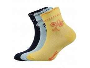 Dětské ponožky 3 kusy v balení Boma Květka mix vzorů B
