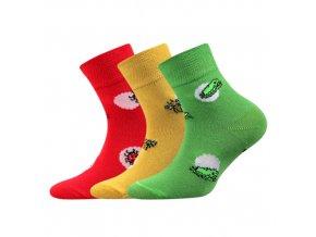 Dětské ponožky 3 kusy v balení Boma Pavlínka mix vzorů A