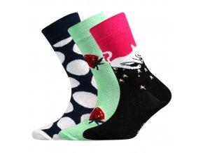 Dětské ponožky 3 kusy v balení Boma 057-21-43 - V mix vzorů D dívka