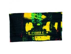 Multifunkční šátek Novia 18 černo žluto zelený abstraktní vzor
