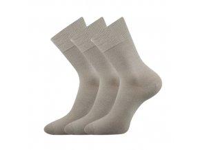 Společenské ponožky 3 kusy v balení Lonka Habin 100% bavlněné světle šedá
