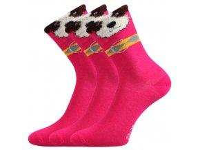Dětské ponožky 3 kusy v balení Boma Hafíček Růžová