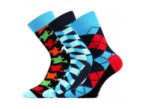Společenské ponožky 3 kusy v balení Lonka Woodoo mix B