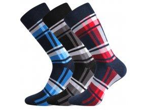 Společenské ponožky 3 kusy v balení Lonka Dikarus kostka mix a