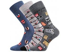 Společenské ponožky 3 kusy v balení Lonka Depate mix D