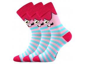 Dětské ponožky 3 kusy v balení Boma Ksichtík Magenta