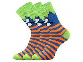 Dětské ponožky 3 kusy v balení Boma Ksichtík světle zelená