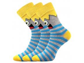 Dětské ponožky 3 kusy v balení Boma Ksichtík žlutá