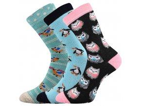 Dětské ponožky 3 kusy v balení Boma Sibiř Protiskluzové 06 Dívka