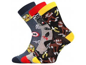 Dětské ponožky 3 kusy v balení Boma 057 21 43 IX mix vzorů B