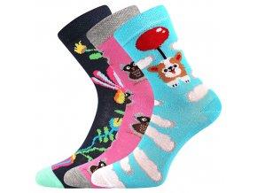 Dětské ponožky 3 kusy v balení Boma 057 21 43 IX mix vzorů D