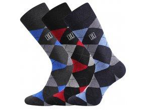 Společenské ponožky 3 kusy v balení Lonka Dikarus káro mix B