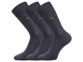 Společenské ponožky 3 kusy v balení Lonka Despok tmavě šedá
