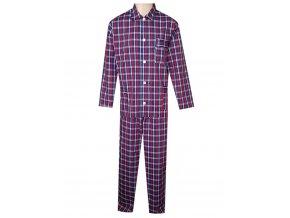 Pánské Pyžamo Popelín FOLTÝN PI24 modročervená kostka