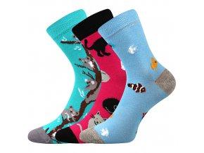 Dětské ponožky 3 kusy v balení Boma 057 21 43 10 mix vzorů C holka