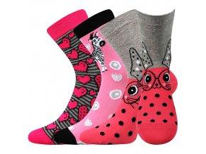 Dětské ponožky 3 kusy v balení Boma 057 21 43 10 mix vzorů D holka