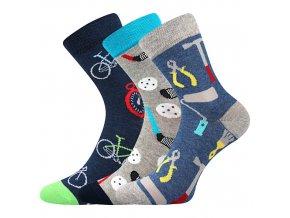 Dětské ponožky 3 kusy v balení VoXX Filip 02 protiskluzové mix chlapecké