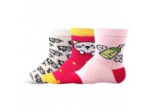 Kojenecké ponožky 3 páry v balení Boma Bejbik mix B holka