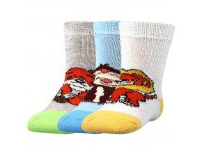 Kojenecké ponožky 3 páry v balení Boma Filípek 01 protiskluz kluk