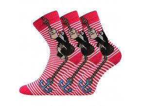 Dětské ponožky 3 kusy v balení Boma Krtek mix kotva růžová