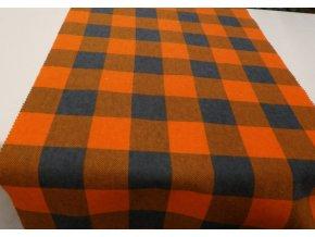 Flanel šedo oranžová kostka artikl K7