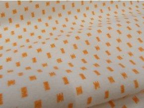 Flanel oranžový abstraktní vzor artikl 14559