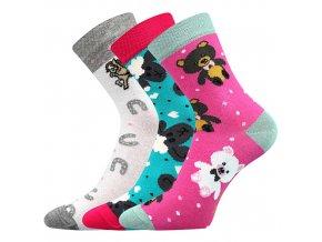 Dětské ponožky 3 kusy v balení Boma 057 21 43 11 mix vzorů D holka