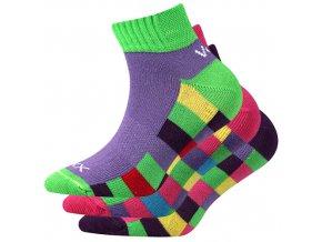 Dětské ponožky 3 kusy v balení VoXX Kvadrik mix vzorů A