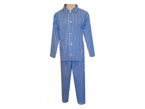 Pánské Pyžamo Plátěné Nadměrné FOLTÝN PPN 04 modré proužky