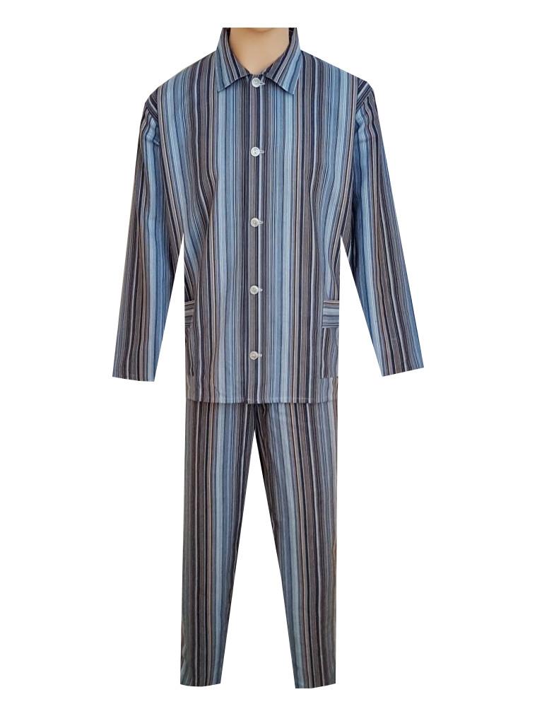Pánské Pyžamo Flanelové FOLTÝN PF01 modročerný proužek Velikost: XL