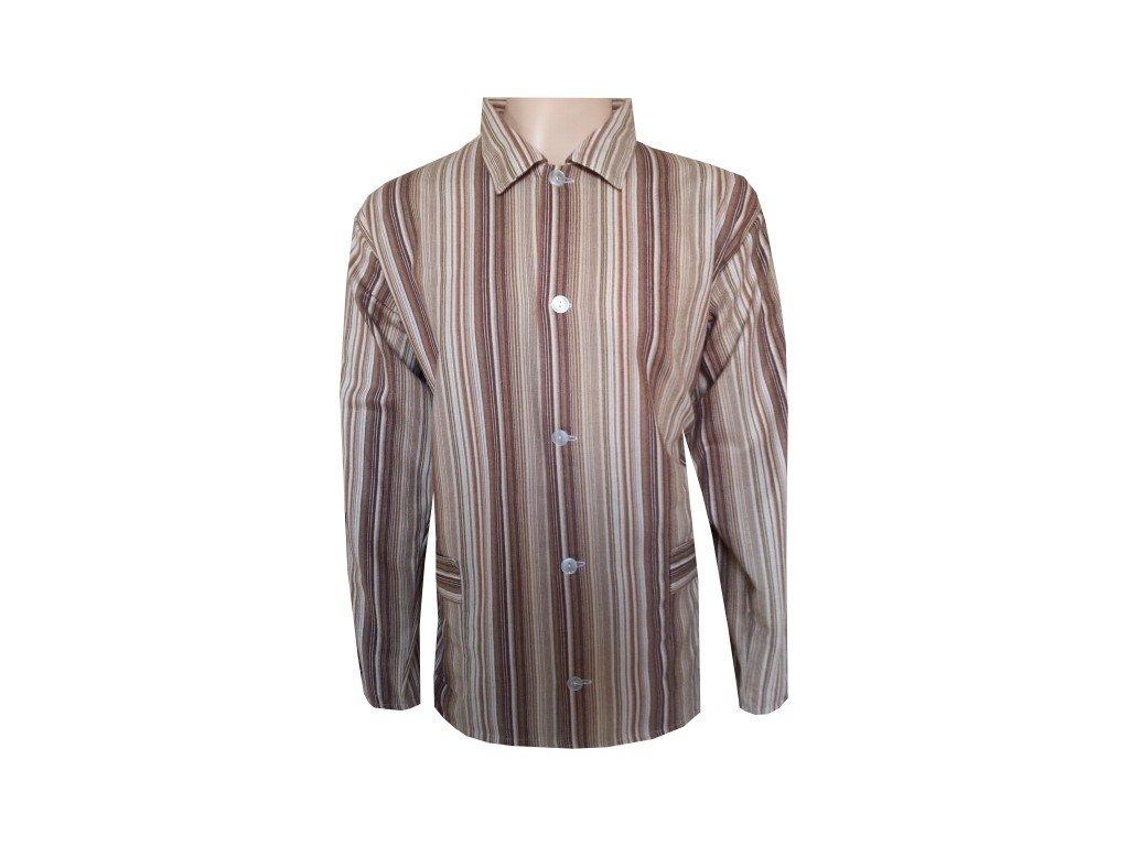 Pánský Pyžamový Kabátek Plátěný FOLTÝN PPK03 Velikost: XL, Materiál: Plátno
