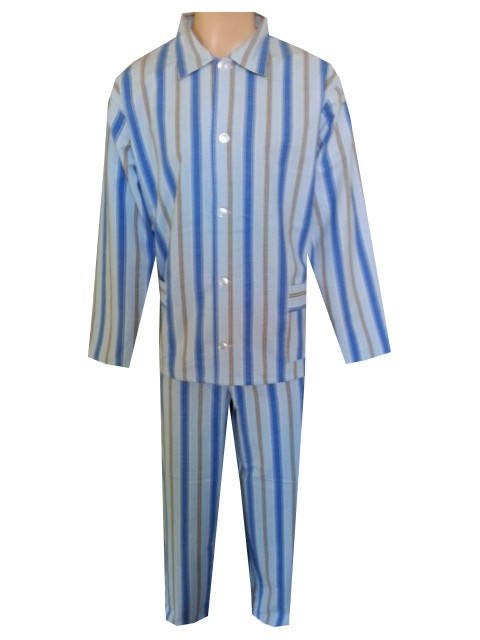 Pánské Pyžamo Flanelové FOLTÝN PF07 světle modré proužky Velikost: XL