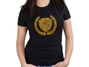 Dámské triko - Zlatý lev (Velikost XXL, Barvy Černá)