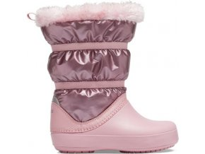 detske zimni boty crocs crocband lodgepoint metallic boot ruzova 24 25 2