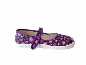 balerínky Beda Violet Flowers (BF 0001/BA/textil) (EU size 24, Inner shoe length 149, Inner shoe width 67)