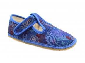 Beda signs and planes in blue (BF-060010/W) barefoot slippers