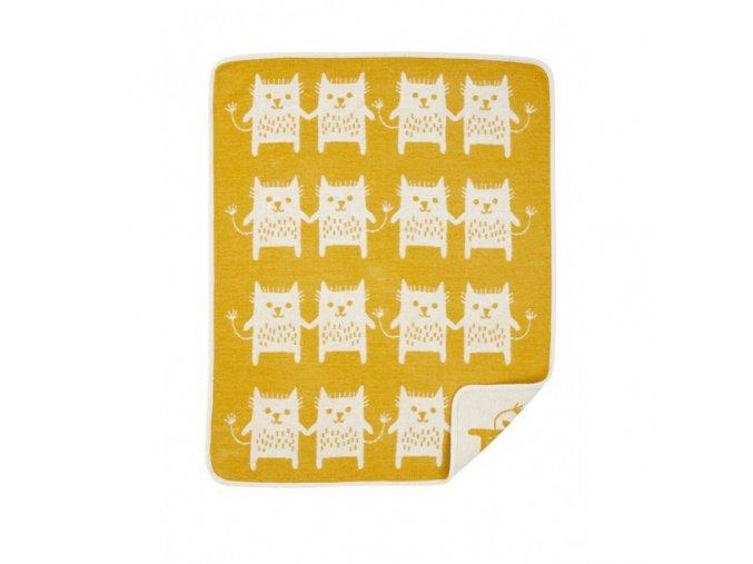 bavlnena detska deka chenille little me yellow