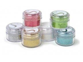 Třpytivý prášek 6 barev mix 1
