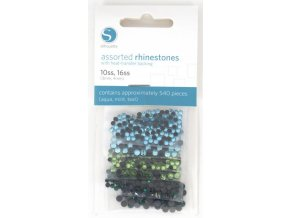 Mix smaragdových, mentolově zelených a zelenomodrých  3mm a 4mm nažehlovacích korálků