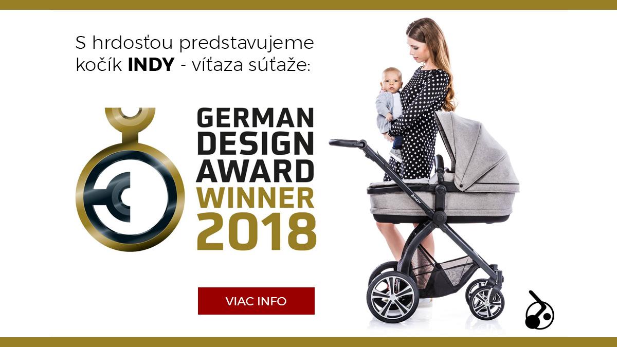 Kočíky INDY víťaz súťaže GERMAN DESIGN AWARDS 2018