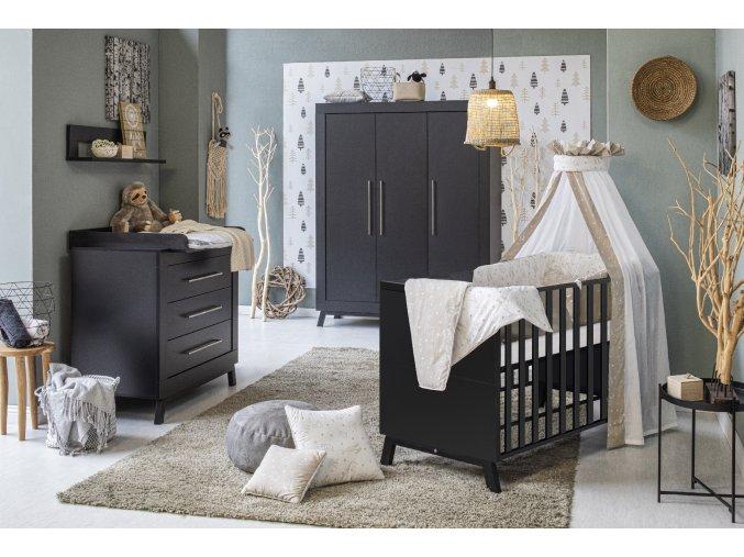 11 807 63 98 Kinderzimmer Miami Black Kombi Kinderbett 70x140 cm und Schrank 3 Türen
