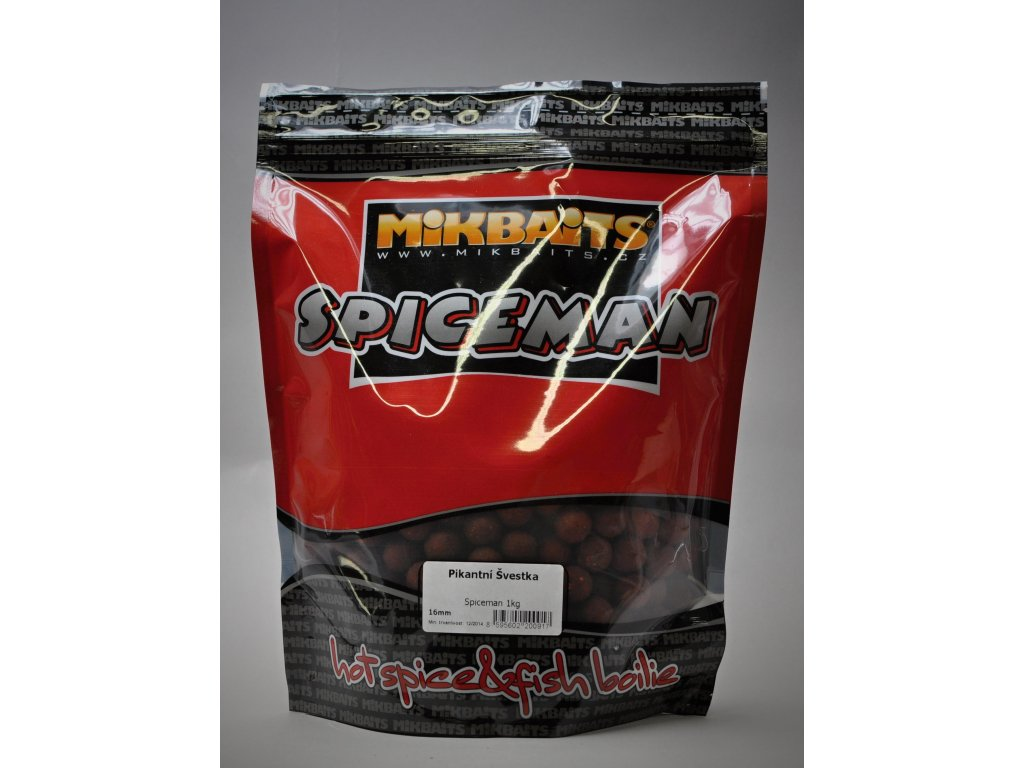 Mikbaits big pack - Trvanlivé boilie 20kg Spiceman Pikantní Švestka 20mm  + Sleva 10% za registraci + ZDARMA Boilies Boss2 MAGIC Slunečnice - 200 g/20 mm