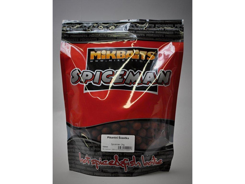 Mikbaits big pack - Trvanlivé boilie 20kg Spiceman Pikantní Švestka 24mm  + Sleva 10% za registraci + ZDARMA Boilies Boss2 MAGIC Slunečnice - 200 g/20 mm