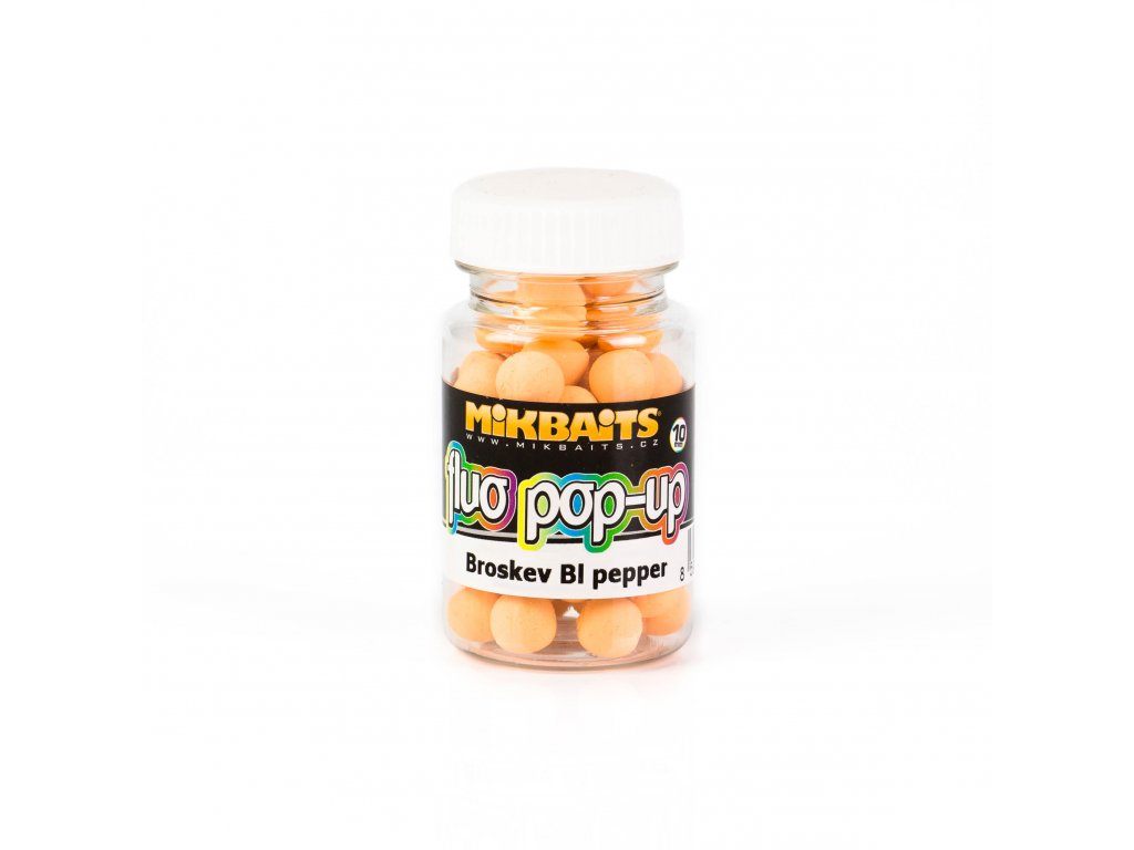 Mikbaits Plovoucí fluo boilie 60ml - Broskev Black pepper 10mm  + Sleva 10% za registraci