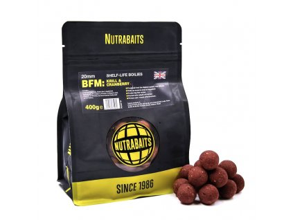 Nutrabaits trvanlivé boilie 400g - BFM Krill&Cranberry + 20mm  + Sleva 10% za registraci