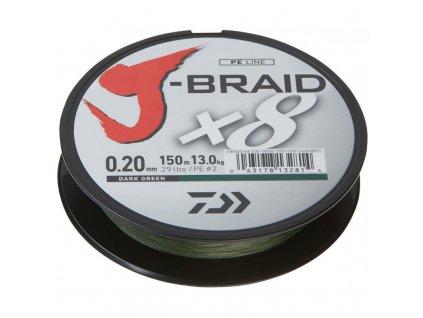 DAIWA ŠŇURA J-BRAID X8 DARK GREEN 135m