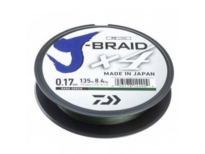DAIWA ŠŇURA J-BRAID X4 DARK GREEN 135m