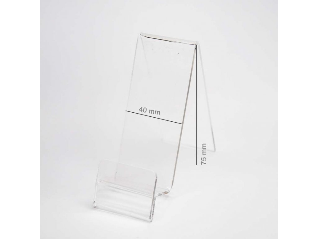 Plexi Stojánek vertikální pro telefon s místem pro cenovku